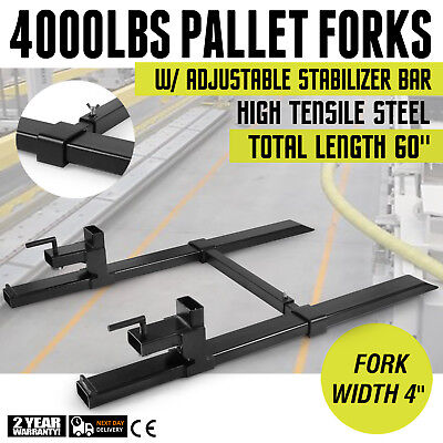 "4000lbs Pallet Forks w/ Stabilizer Bar 43"" Skidsteer Heavy duty Roll back PRO"