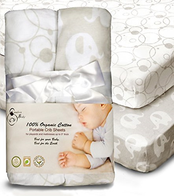 100% Organic Cotton Sheets for Pack 'n Play and other Portable/ Mini Cribs, 2 or
