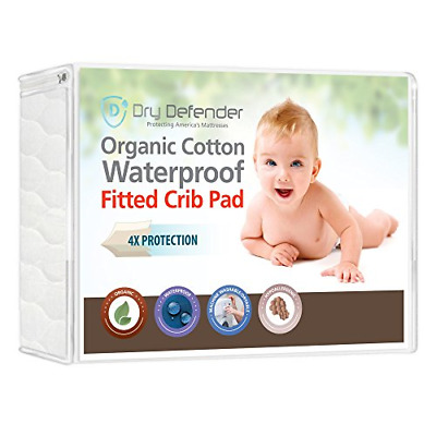 Organic Cotton Waterproof Fitted Crib Pad - Natural Baby Crib Mattress Cover & -