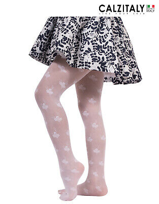 Girls Sheer Tights, Floral Pantyhose for Children, 25 DEN, Made in Italy