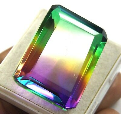 GGL Certified 106.30 Ct Ravishing Multi Color Tourmaline Emerald Cut Gem
