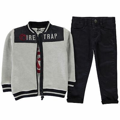 Kids Boys Firetrap 3 Piece Trouser Set Infant Straight Jeans Long Sleeve New