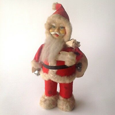 Vintage Japanese(?) Clockwork Father Christmas - Tin Plate and Plastic Toy 1950s