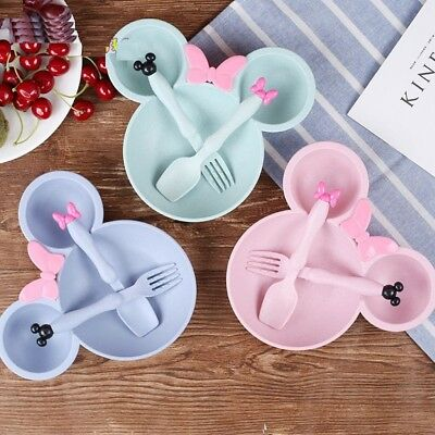 3pcs/set Baby Feeding Dinnerware Kids Cartoon Plate Fork Spoon Healthy Materials