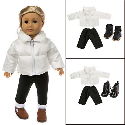 Fashion Clothes Down Jacket + Shoes For 18 Inch American Girl Doll Clothes Set