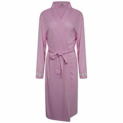 Ladies Poly/Cotton Jersey Spot Dressing Gown Pink or Blue 12-14 16-18 20-22