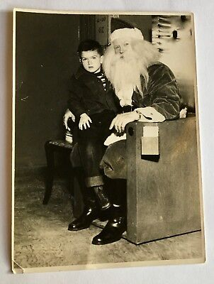 Christmas  Photo Old Vintage 1930'S Santa  Claus with a boy on his lap
