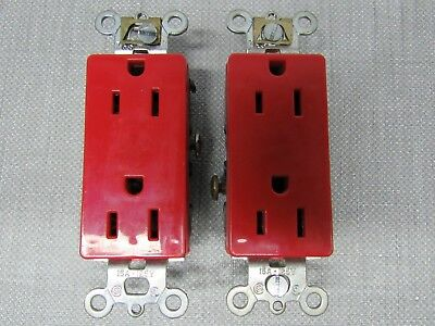 Pass & Seymour 26242-Red 15A.125V 60HZ Duplex Receptacle Lot of 2