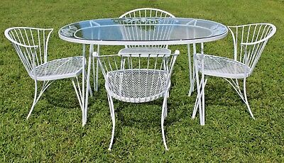 Russel Woodard 1950's Original Pinecrest Design 5 Pc Wrought Iron Dining set