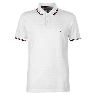 Mens Tommy Hilfiger Tonal Textured Polo Shirt Classic Fit Short Sleeve New