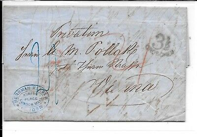Gb London Prestamp 1855 Cover To Austria