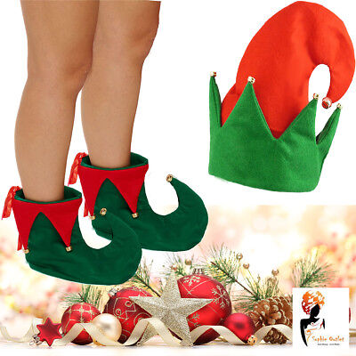 Christmas Elf Hat Boot With Jingle Bells Xmas Adult Fancy Dress Costume Party