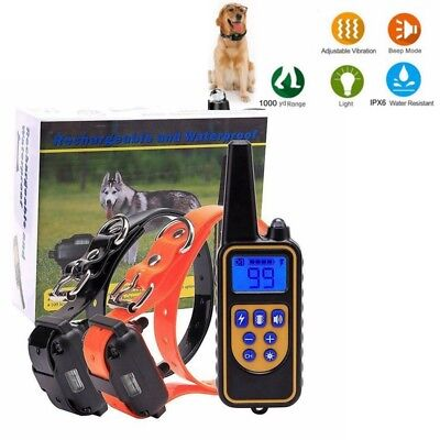 Waterproof LCD Electric Remote Dog Training Shock Collar 1000 Yard Rechargeable