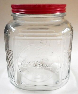 Vtg Coca Cola Coke Anchor Hocking Glass Canister Cookie Candy Jar Storage bottle