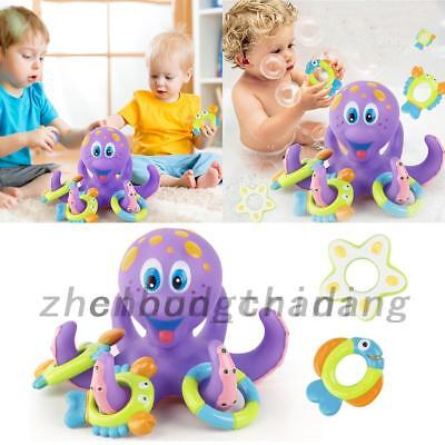 Kids Baby Infant Toddlers Floating Bath Toys Octopus + 5 Rings Learn Play Fun