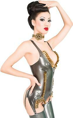 Westward Bound Burlesque Latex Basque PS Pewter with PS Gold Trim