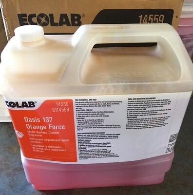 Ecolab 6114559 Oasis 137 Orange Force Multi-Surface Cleaner-Degreaser 2.5gal NEW