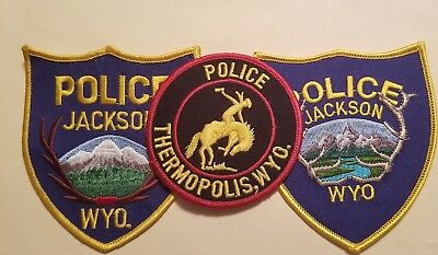 WYOMING Police Department Patches - Set of 3   (Thermopolis/Jackson)   PL 29