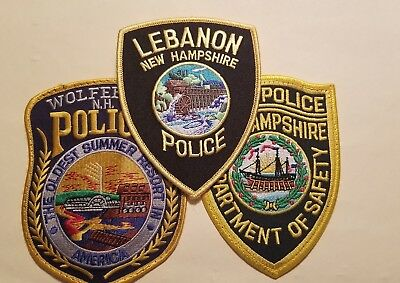 NEW HAMPSHIRE Police Department Patches - Set of 3 (State/Wolfeboro/Lebanon) PL4