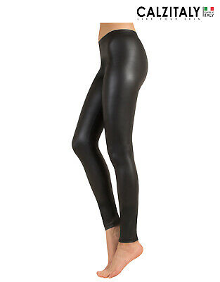 Leggings Pelle, Pantacollant Donna Lucidi Sexy in Ecopelle, S M L, Made in Italy