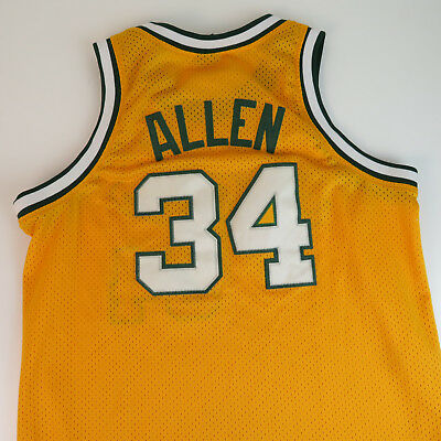 best sneakers 79e70 92cdd RAY ALLEN SEATTLE Supersonics XL Nike Authentic Sewn Jersey - Yellow NBA