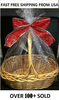 2 Red Large Gift Basket Bags 24x30 Cellophane Christmas Baby