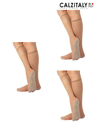 Pack 3 Pairs Sheer Knee High Socks With Cotton Comfort Sole, Made in Italy