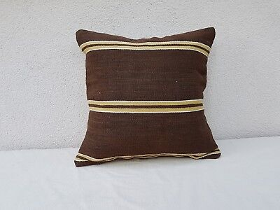 18'' X 18'' Area Rug Brown Kilim Pillow Cover, Decorative Throw Cushion 45 X 45