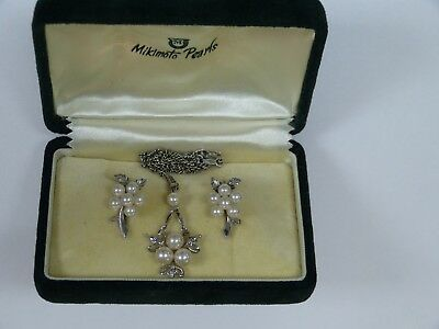Vintage Miki Moto Silver Pearl Cluster Earring & Pendant Necklace Set W/orig Box