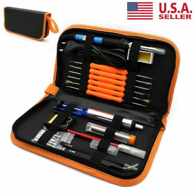 60W 110V Electric Soldering Iron Tool Kit Adjustable Temperature Welding w/ Case