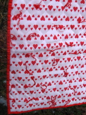 "Valentines Day Red Hearts Throw Lap Blanket 27"" X 34"" Love Handmade."