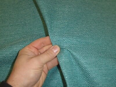 Job Lot - 10m roll of BRIGHT TEAL GREEN Chunky Weave Upholstery / Curtain Fabric