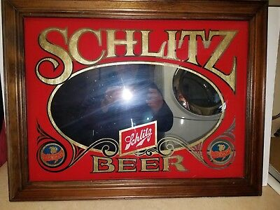 """Schlitz Beer 20.5 """"X 26.5"""" Vintage Glass Mirror Wall Bar Sign With Wood Frame"""