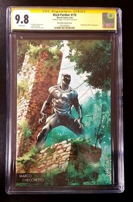 9.8 CGC SS Black Panther #170 Checchetto Young Guns Variant SIGNED Comics 2018