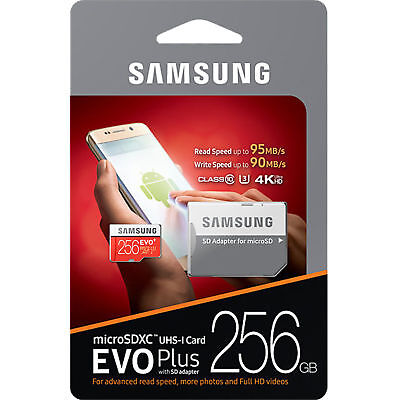 Samsung 256GB Micro SD Card EVO Plus Class 10 UHS-I MicroSDXC U3 With Adapter