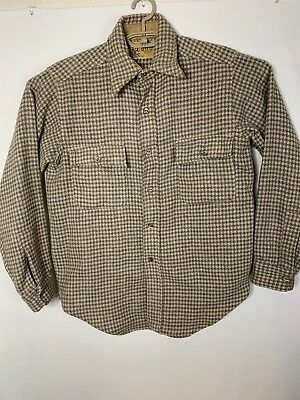Vtg Mens Duxbak Utica Tan Houndstooth Hunting Jacket/Coat L/S Shirt Wool Large