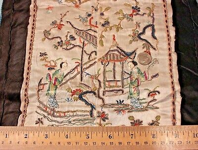 """Antique Old Silk Chinese Hand Embroidered Panel c1890-1900~L-23"""" X W-11"""""""