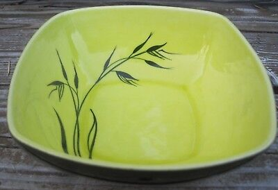 Vtg Winfield China Oats Chartruese Yellow Green Bowl Dish Square Coupe Cereal