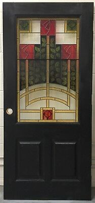 """36"""" X 80"""" Solid hardwood 1-3/4"""" Real stained Glass Vintage art work door red"""