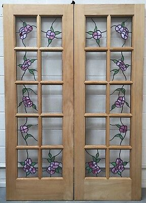 French doors hardwood stained glass 56 X 80 X 1-3/4 Roses pink flowers leaves