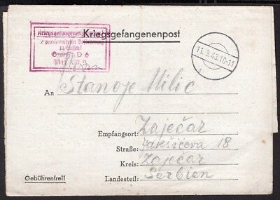 152 Germany To Serbia Official Censored Pow Cover 1943 To Zajecar