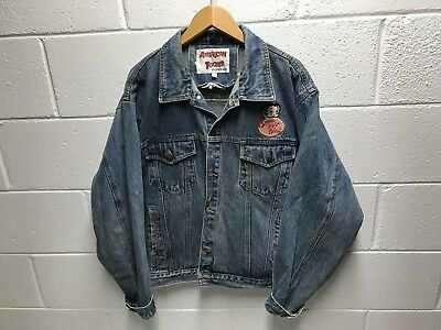 Vintage Betty Boop Denim Jacket American Toons Mens Size XL Hearts