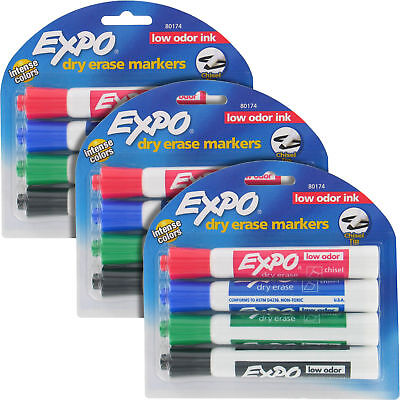 Expo Tank-Style Dry Erase Markers, Low Odor, Chisel Tip, Assorted 3 Packs 80174