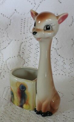 vintage BAMBI deer fawn planter vase ORNAMENT LONG NECK ceramic retro kitsch vgc