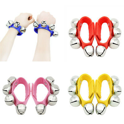 UK_ 2Pcs Cute Hand Foot Wrist Bell Rattle Wristband Toddler Educational Toy Braw