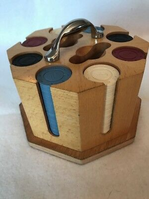 Poker Chip Set, Natural Wood Caddy, Cover 2 Decks Cards, 200 chips