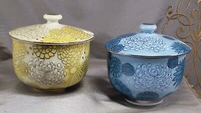 VINTAGE KUTANI Chrysanthemum JAM JAR Covered Bowl CONDIMENT Lot of 2