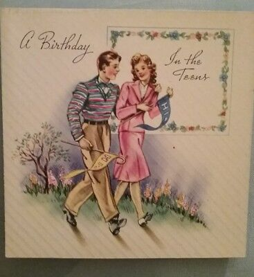 Vintage 40s Unused Teens Teenager Birthday Card A 5311