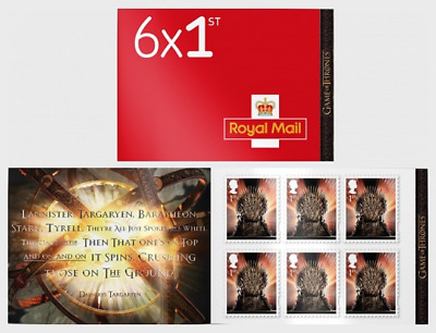 2018 Game of Thrones™ 6 X 1st class Retail Booklet MB20 MNH