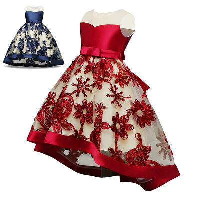 Baby Kids Girl Party Bow Princess Dress Flower Wedding Bridesmaid Formal Dresses